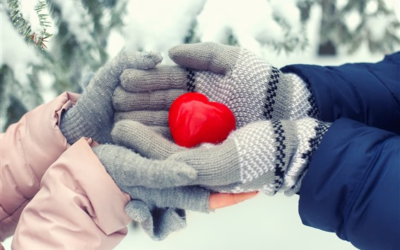 Wallpaper Red love heart, hands, winter