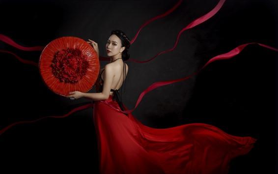 Fond d'écran Jupe rouge fille chinoise, photographie d'art