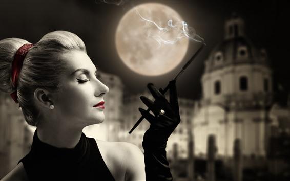 Fond d'écran Fille de style rétro, rouge à lèvres, cigarette, lune