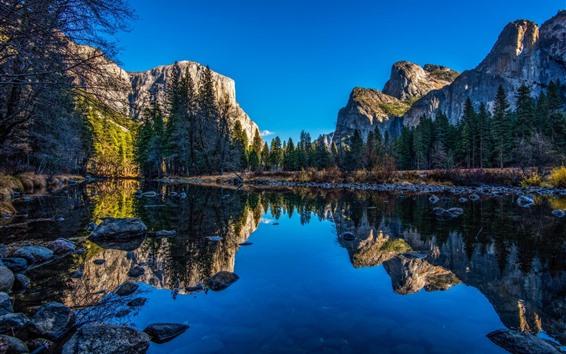 壁紙 川、きれいな水、山、木、反射