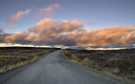 Papéis de Parede Estrada, grama, nuvens, natureza, crepúsculo