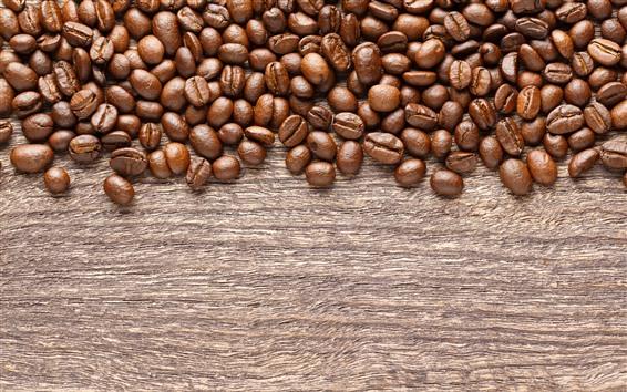 Wallpaper Roasted coffee beans, wood board