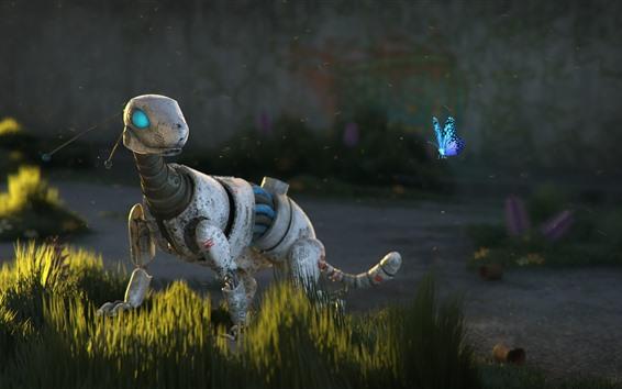 Wallpaper Robot animal, butterfly, grass, sci-fi