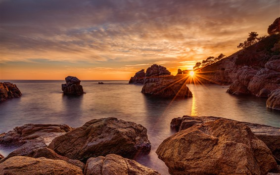 Wallpaper Rocks, sea, sunset, sun rays