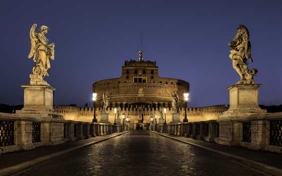 Wallpaper Rome, Italy, statue, buildings, road, lights, night