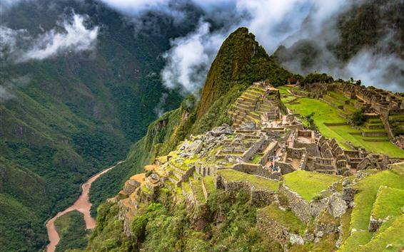 Fond d'écran Ruines, gorges, abysses, montagnes, brouillard