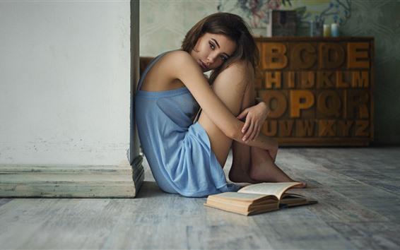 桌布 悲傷的女孩,書,房間