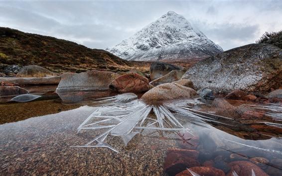 Обои Шотландия, горы, скалы, лед, вода