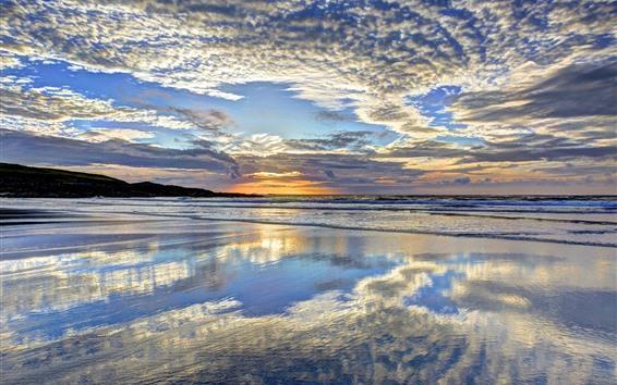 Hintergrundbilder Meer, Ufer, Wolken, Wasserreflexion