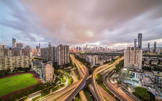 Papéis de Parede Shenzhen, visão noturna da cidade, estradas, casas, luzes