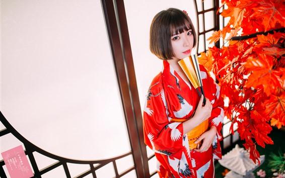 Wallpaper Short hair Japanese girl, kimono, red maple leaves