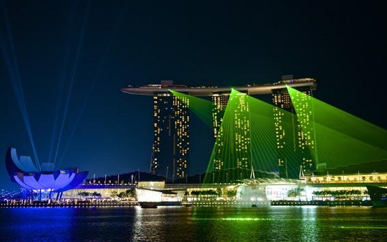 Papéis de Parede Cingapura, noite, iluminação, cidade