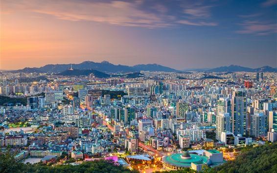 Fondos de pantalla Corea del sur, Seúl, vista a la ciudad, anochecer, luces