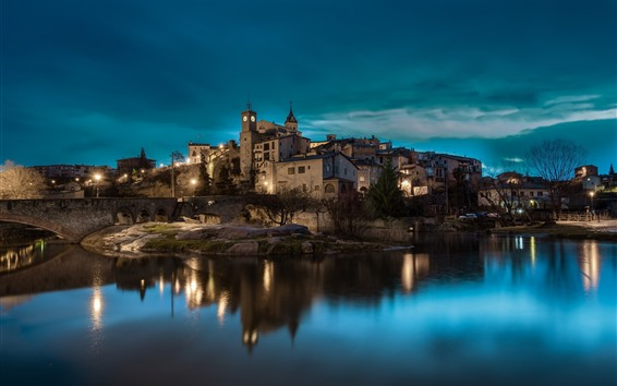 Wallpaper Spain, Catalonia, night, city, river