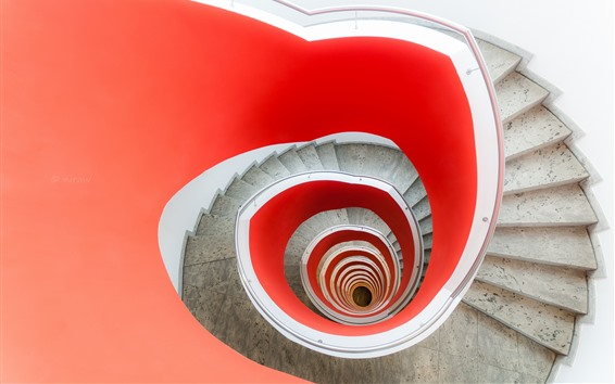Wallpaper Spiral ladders, white and red colors
