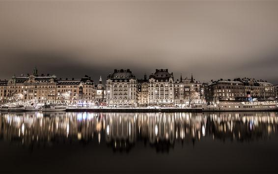 Fondos de pantalla Suecia, Estocolmo, casas, río, reflejo del agua, noche, luces