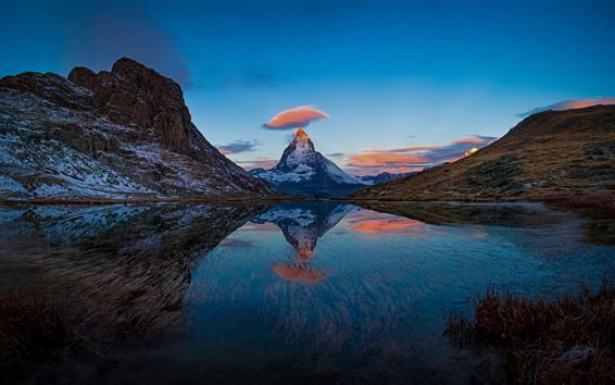 Hintergrundbilder Die Schweiz, schöne Naturlandschaft, Berge, See, Wasserreflexion