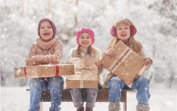 Papéis de Parede Três meninas, childs, neve, presente, inverno