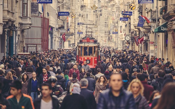 Обои Турция, Стамбул, улица города, трамвай, люди