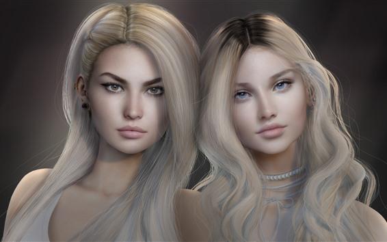 Wallpaper Two blonde girls, fantasy