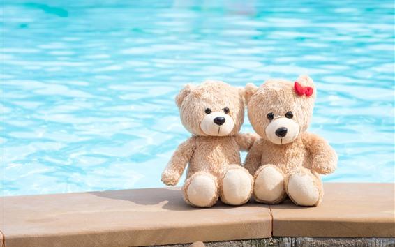Wallpaper Two teddy bears, toys, sea
