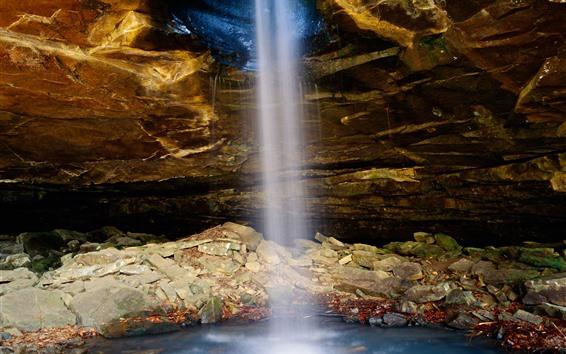 Papéis de Parede Eua, arkansas, cachoeira, caverna, pedras