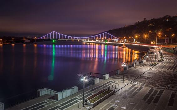 Wallpaper Ukraine, Kiev, city, night, bridge, lights