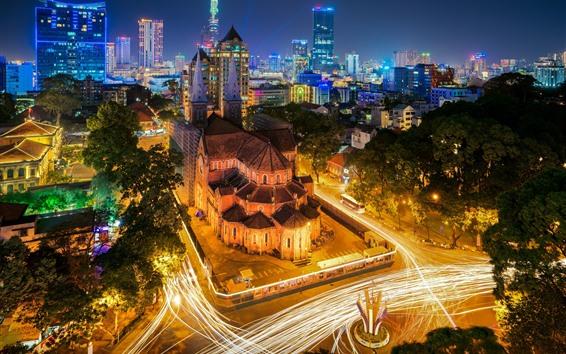 Papéis de Parede Vietnã, noite da cidade, estradas, luzes, casas