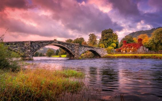 Wallpaper Wales, England, river, grass, bridge, house, autumn