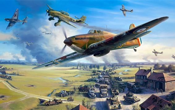 Обои Война, самолет, автомобили, армия, художественная фотография