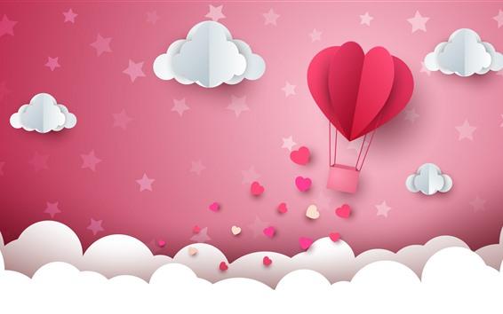 Wallpaper White clouds, waves, love hearts, hot air balloon, paper art
