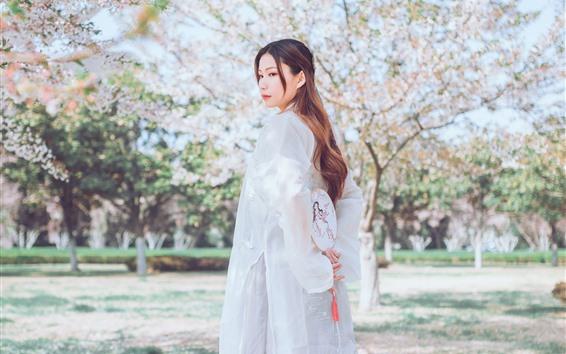 Wallpaper White dress girl look back, retro style, spring, tree flowers
