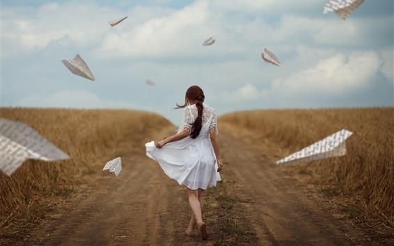 Wallpaper White skirt girl back view, path, paper planes