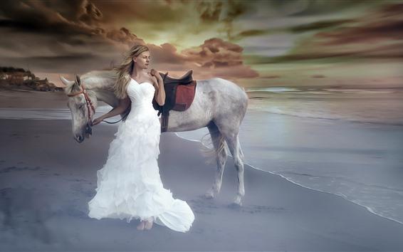 Papéis de Parede Menina de saia branca, mar, terra, cavalo, fotografia de arte