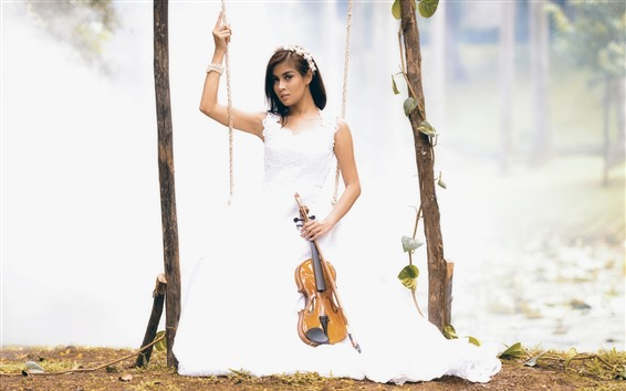 Wallpaper White skirt girl, swing, violin, music