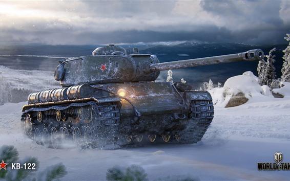 Wallpaper World of Tanks, Soviet tank, snow, winter