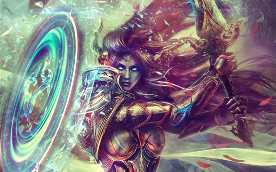 Fondos de pantalla World of Warcraft, armadura, paladín, chica, imagen artística