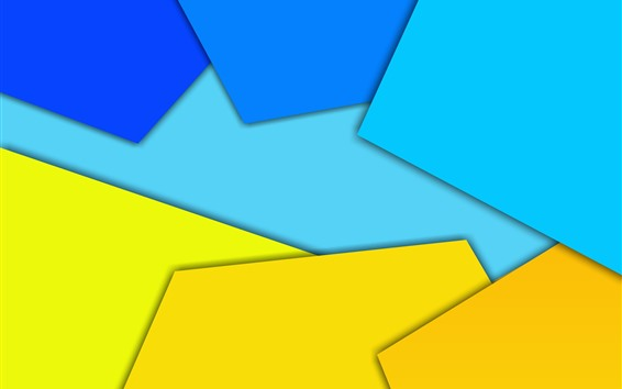 Wallpaper Yellow and blue geometric figure, abstract picture