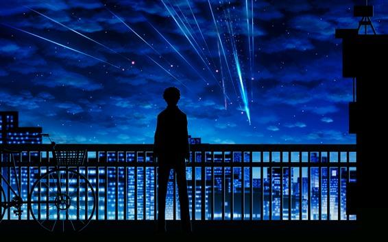 Fondos de pantalla Tu nombre, meteoro, chico, silueta, valla, bicicleta