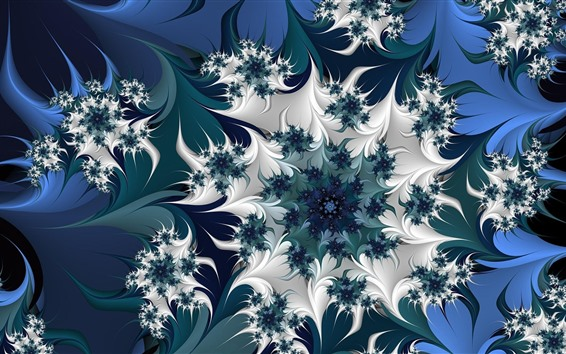 Wallpaper Abstract flowers, pattern, blue and white