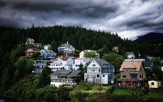 Wallpaper Alaska, houses, trees, clouds, dusk, USA