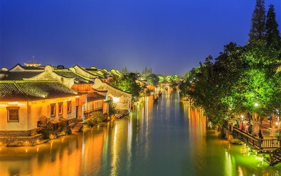 Wallpaper Ancient town, village, river, trees, night, lights, China