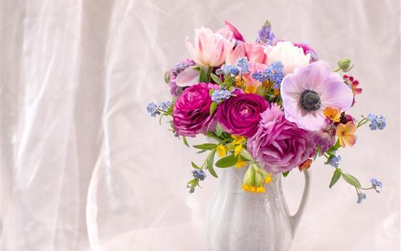 Fondos de pantalla Anémona, tulipanes, peonía, florero.