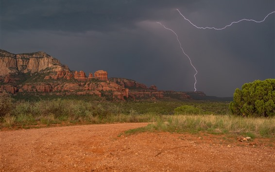 Fond d'écran Arizona, Sedona, USA, vallée, montagnes, nuages, éclairs