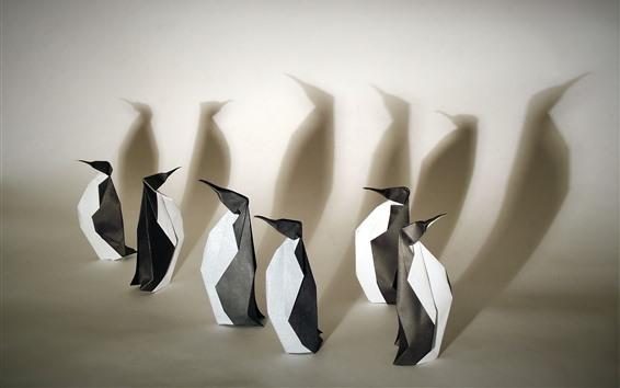 Fond d'écran Origami d'art, pingouins