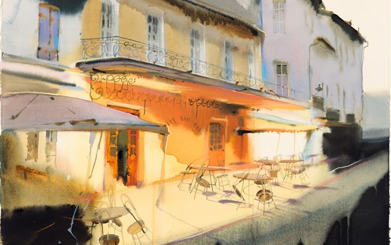 Wallpaper Art painting, restaurant, balcony, tables, chairs