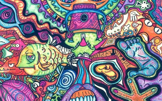 Wallpaper Artwork, colorful painting, fish, monster, abstract style