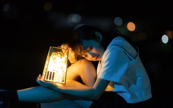 Wallpaper Asian young girl, lantern, stars light