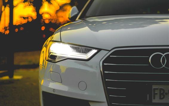Papéis de Parede Vista frontal do carro branco Audi, farol