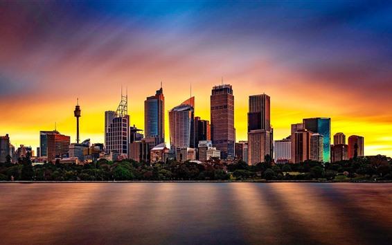 Wallpaper Australia, Sydney, river, city, buildings, sunset